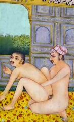 Old Indian print depicting homosexual kamasutra-style sex