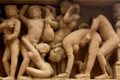 Erotic sculpture at the Lakshmana temple in Khajuraho