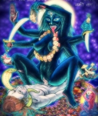 The Tantric Goddess Kali copulating with her male consort Shiva