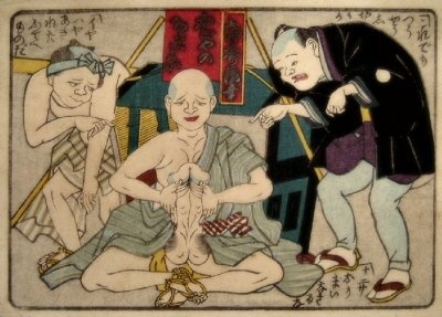 Japanese shunga print of monk meditating with erection