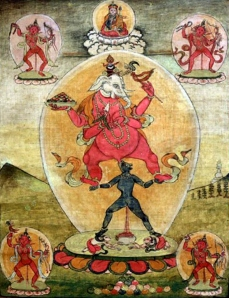 An animal-headed goddess performing fellatio on the elephant God Ganesha