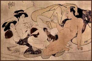 Shunga print of the two dancing phoenixes sex position